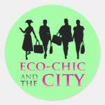 Eco - moda y la ciudad etiquetas redondas