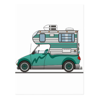 Eco Pick Up Camper Aqua Postcard