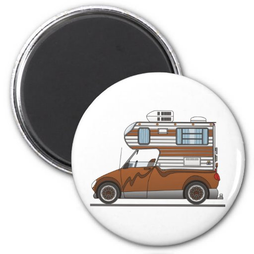 Eco Pick Up Camper Brown 2 Inch Round Magnet