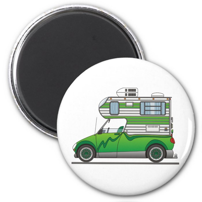 Eco Pick Up Camper Green 2 Inch Round Magnet