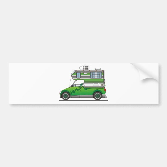Eco Pick Up Camper Green Bumper Sticker