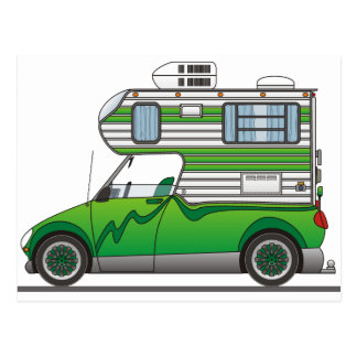 Eco Pick Up Camper Green Postcard