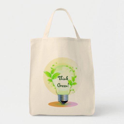 Eco piensa verde bolsa tela para la compra