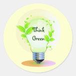 Eco piensa verde pegatinas redondas