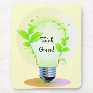 Eco piensa verde tapete de ratón