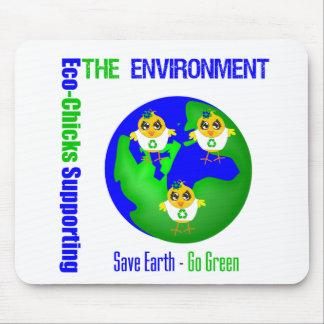 Eco-Polluelos que apoyan el ambiente Tapetes De Ratón