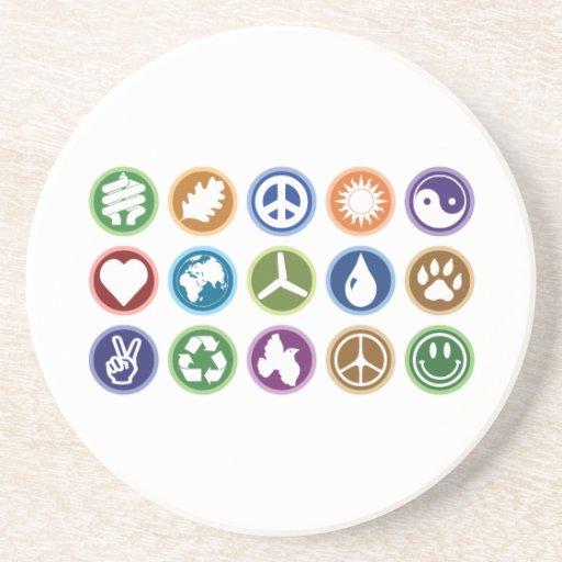 Eco Symbols Beverage Coaster