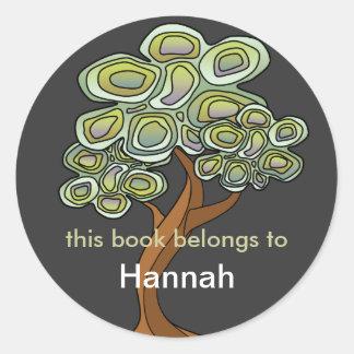 Eco Tree Book Label Classic Round Sticker
