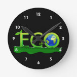 eco with globe as  word on grass.png round wallclocks
