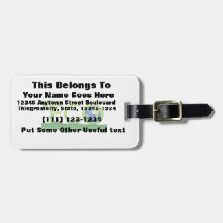 eco with globe as word on grass png travel bag tag