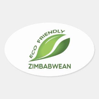 Eco zimbabuense amistoso pegatina ovalada