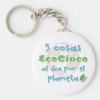 EcoCinco - Una iniciativa por el planeta Llavero Redondo Tipo Pin