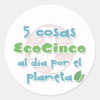 EcoCinco - Una iniciativa por el planeta Pegatina Redonda