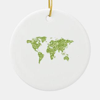 Ecofriendly Map Ceramic Ornament