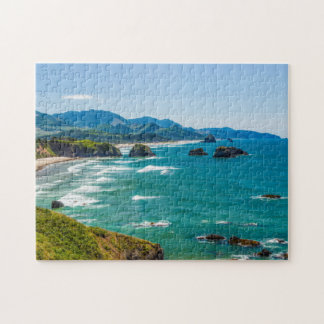 Ecola State Park, Oregon. Panorama of Crescent Jigsaw Puzzle