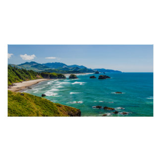 Ecola State Park, Oregon. Panorama of Crescent Poster