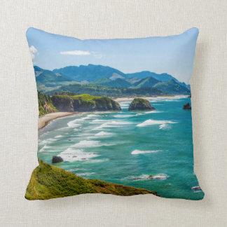 Ecola State Park, Oregon. Panorama of Crescent Throw Pillow