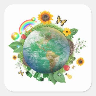 Ecología: recicle - pegatina cuadrada