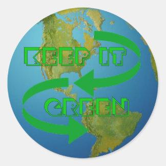 Ecología verde de las flechas pegatina redonda