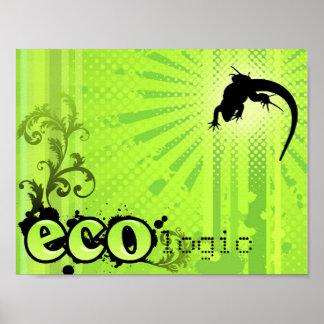 Ecologic Causes Environment Awareness Gecko green Poster