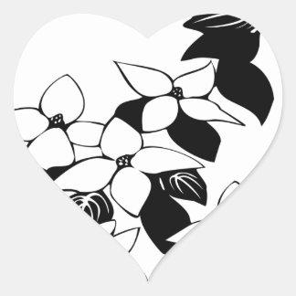 Ecological floral flowers leaf heart sticker