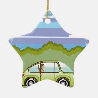 Ecological Green car self-driving Ceramic Ornament