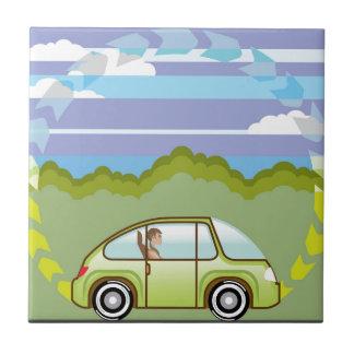 Ecological Green car self-driving Ceramic Tile