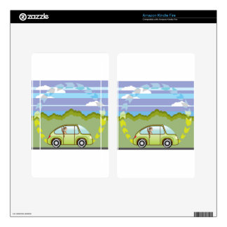 Ecological Green car self-driving Kindle Fire Decal