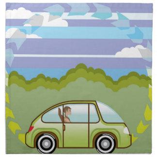 Ecological Green car self-driving Napkin