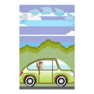 Ecological Green car self-driving Stationery