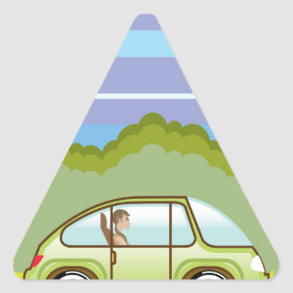 Ecological Green car self-driving Triangle Sticker