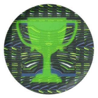 Ecologista del verde del trofeo del ganador plato para fiesta