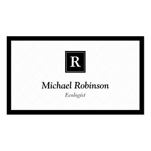 Ecologista - monograma elegante simple plantillas de tarjeta de negocio