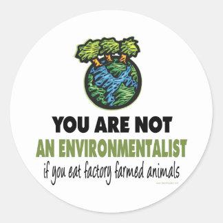 Ecologista vegano vegetariano etiqueta redonda