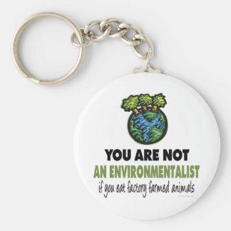 Ecologista = vegano, vegetariano llavero redondo tipo pin