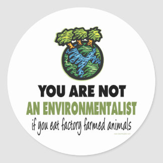 Ecologista = vegano, vegetariano pegatina redonda