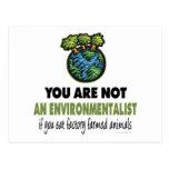 Ecologista = vegano, vegetariano postal