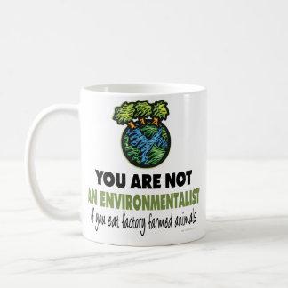 Ecologista = vegano, vegetariano taza de café