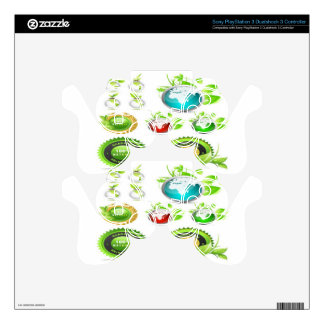 Ecology globes illustration design PS3 controller decals