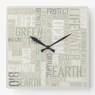 Ecology Words Wall Clock