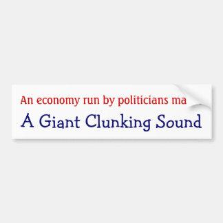 Economía funcionada con por el sonido clunking gig etiqueta de parachoque
