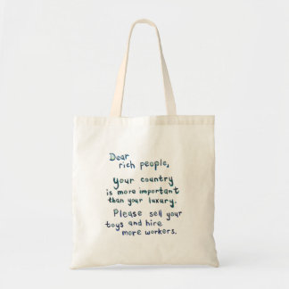 Economic disparity between rich and poor word art budget tote bag
