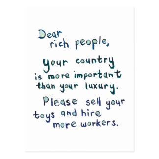 Economic disparity between rich and poor word art postcard