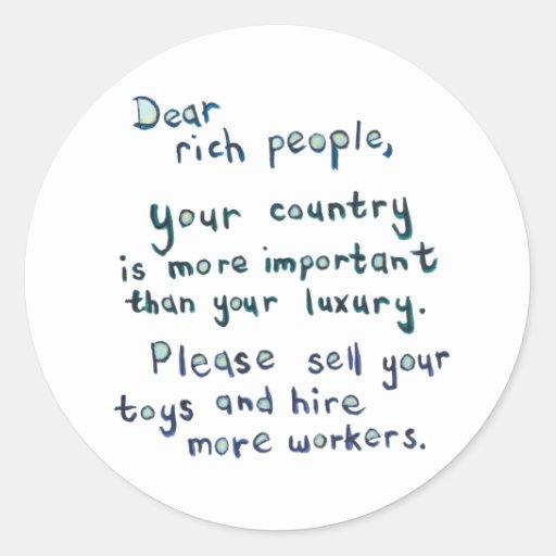Economic disparity between rich and poor word art stickers