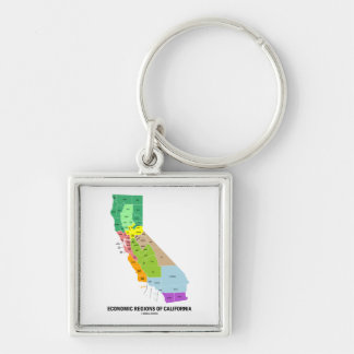 Economic Regions Of California (Map) Silver-Colored Square Keychain