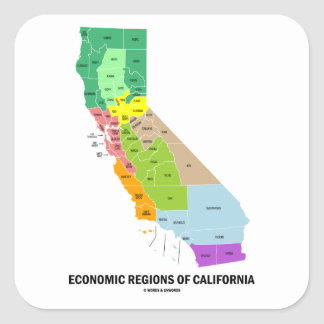 Economic Regions Of California (Map) Square Sticker