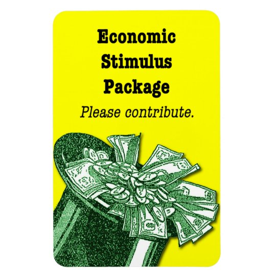 Economic Stimulus magnetic tip jar sign Magnet