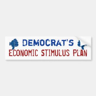 Economic Stimulus Plan Thumbs Down Car Bumper Sticker