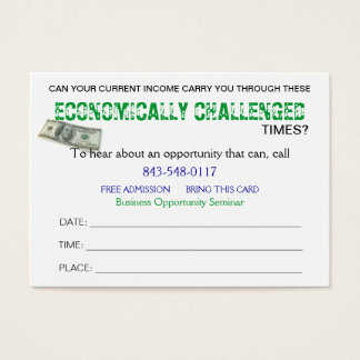 Economically Challenged Sizzle Card