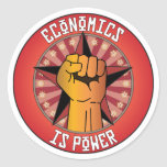 Economics Is Power Round Stickers